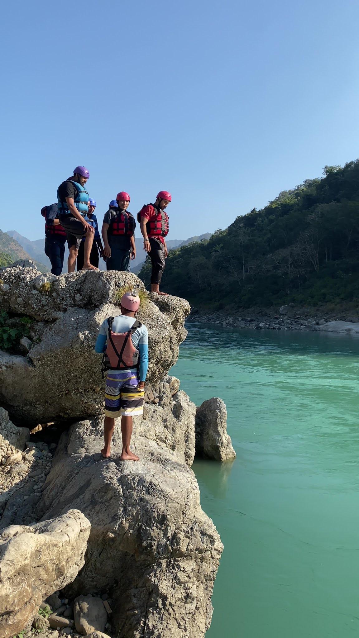 Cliff Jumping during River Rafting, Rishikesh