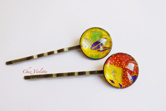 Barrettes multicolore - https://www.etsy.com/shop/chezviolette