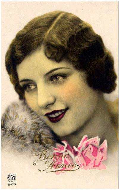 Carte postale ancienne visage de femme Bonne Année