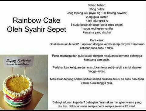resipi rainbow cake