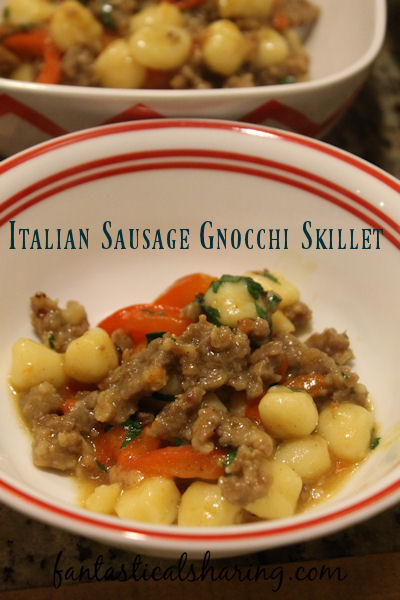 Fabulous and easy, this Italian Sausage Gnocchi Skillet is made in one skillet in under 30 minutes! #recipe #onepot #sausage #gnocchi #maindish