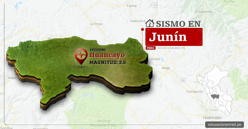 Temblor en Junín de 3.5 Grados (Hoy Miércoles 19 Abril 2017) Sismo EPICENTRO Huancayo - IGP - www.igp.gob.pe
