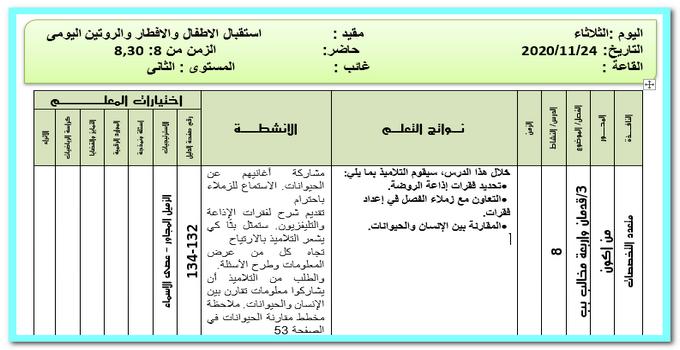 تحضير المستوي الثانى رياض اطفال ليوم الثلاثاء 24 نوفمبر