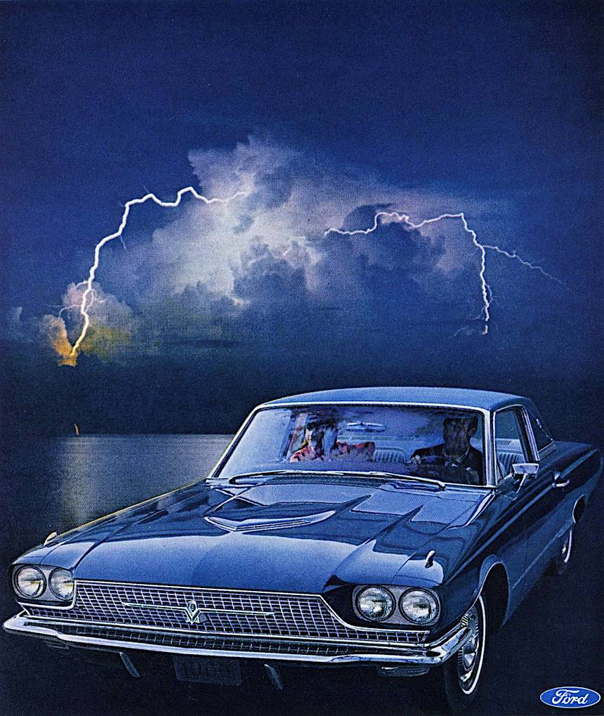 1966 Thunderbird Town Landau photograph, lightning and blue car