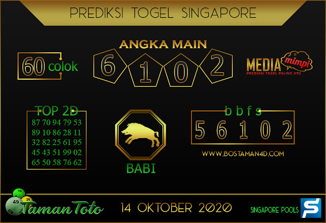 Prediksi Togel SINGAPORE TAMAN TOTO 14 OKTOBER 2020