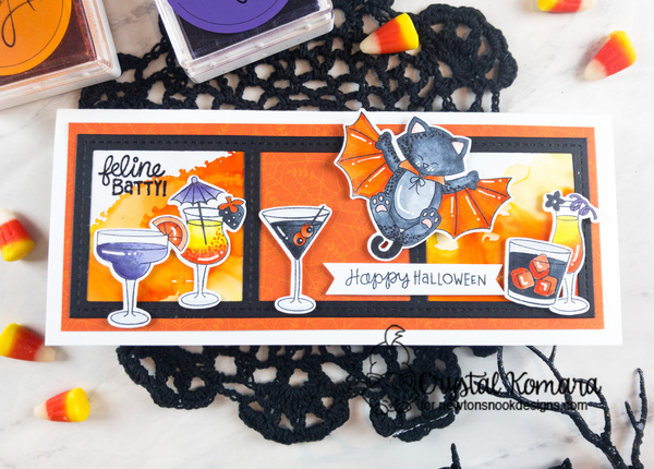 Happy Halloween by Crystal features Batty Newton, Cocktail Mixer and Slimline Frames & Windows by Newton's Nook Designs; #newtonsnook
