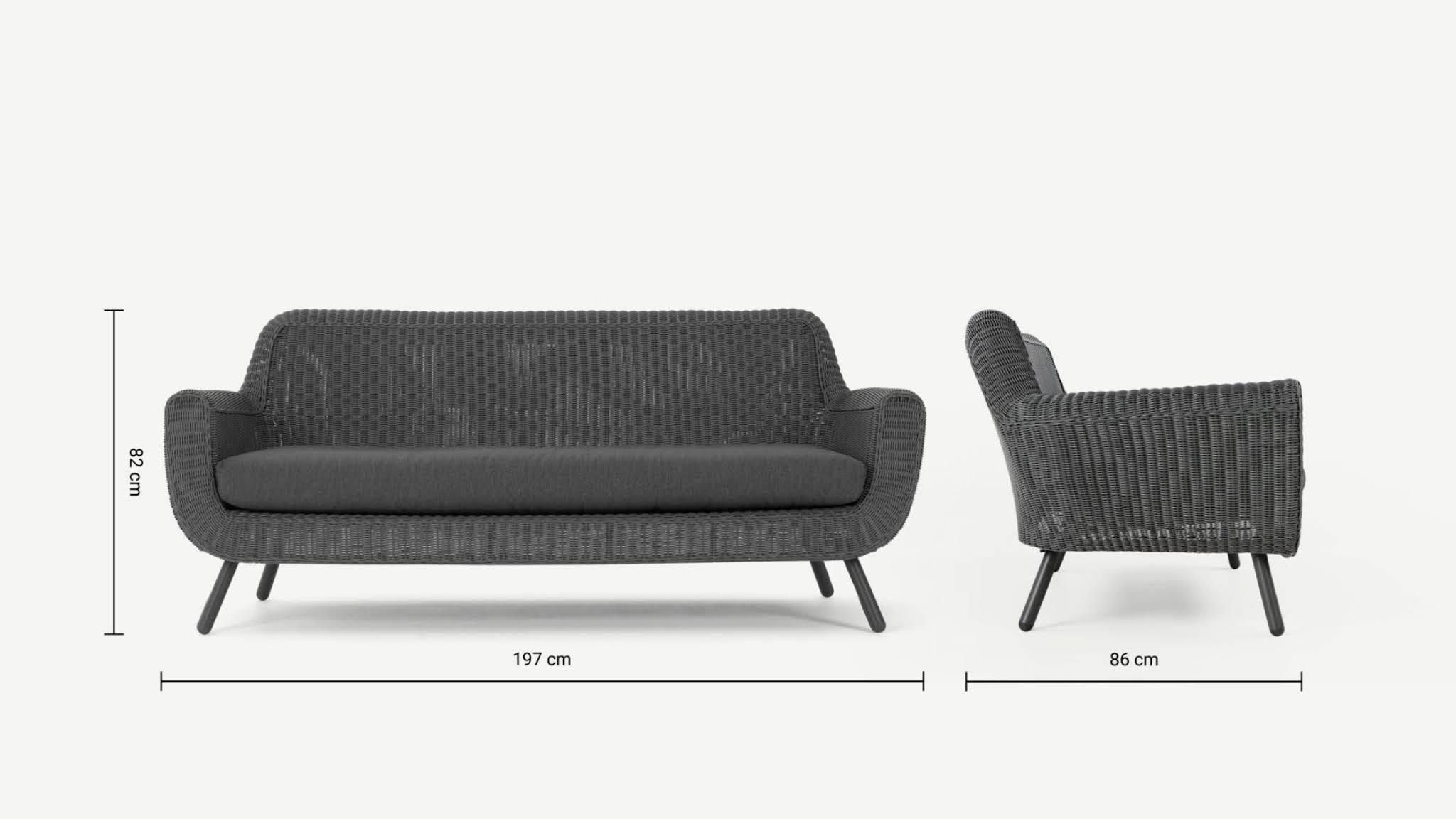 szara sofa ogrodowa