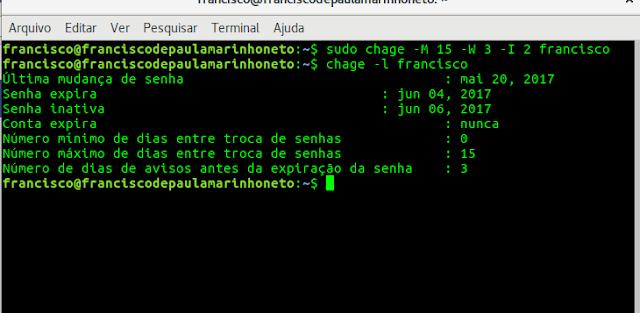 Aumentendo a segurança linux no servidor e desktop: criando senhas expiráveis para usuários , forçando  troca de senhas.