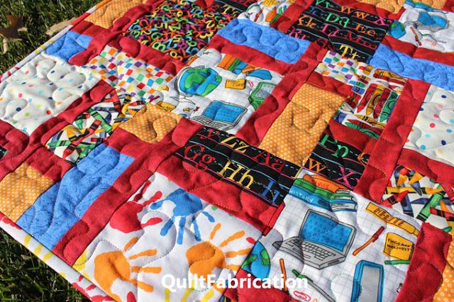 closeup of School Days baby quilt