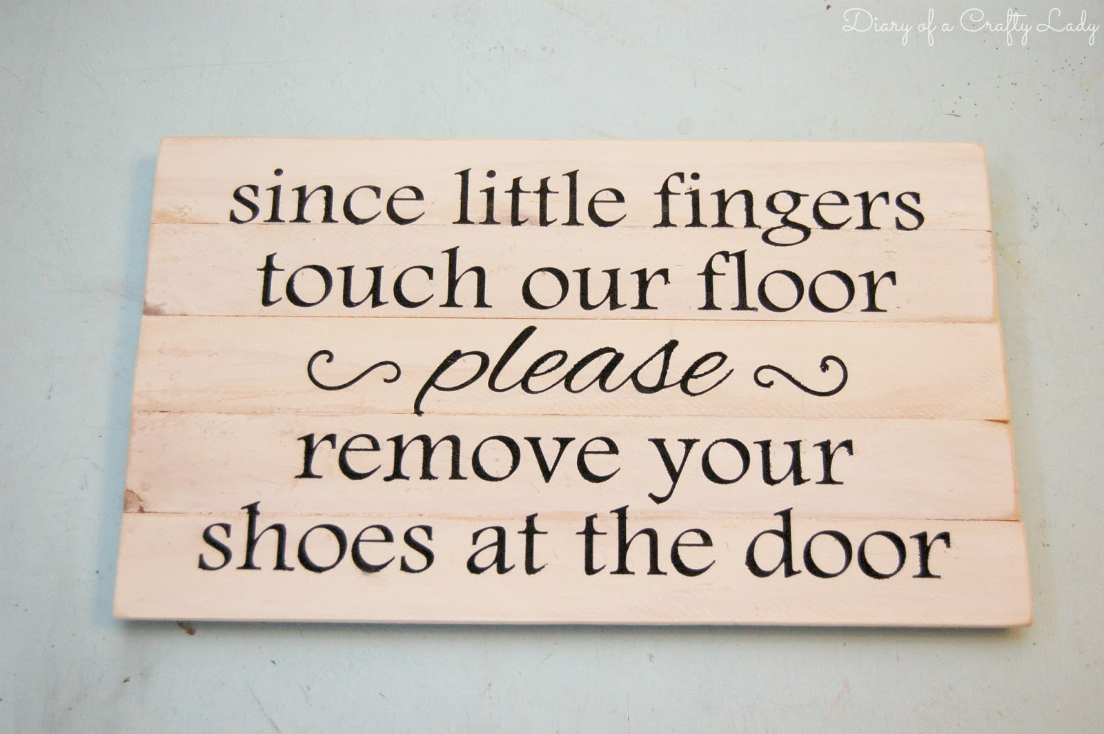 diary of a crafty lady please remove your shoes sign made with stir sticks. Black Bedroom Furniture Sets. Home Design Ideas