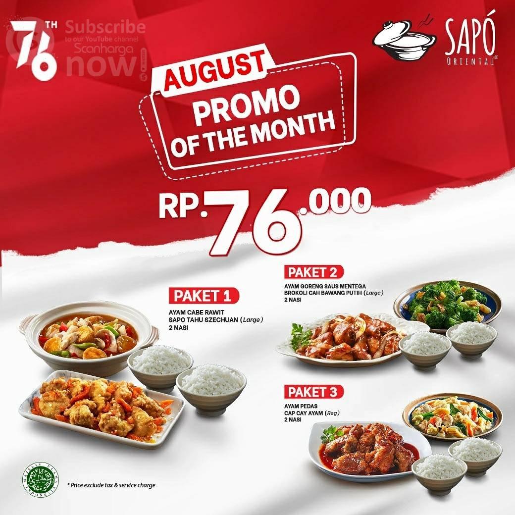 SAPO ORIENTAL Promo Of The Month harga paket Merdeka Rp. 76.000