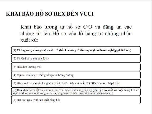 khai báo REX đến VCCI
