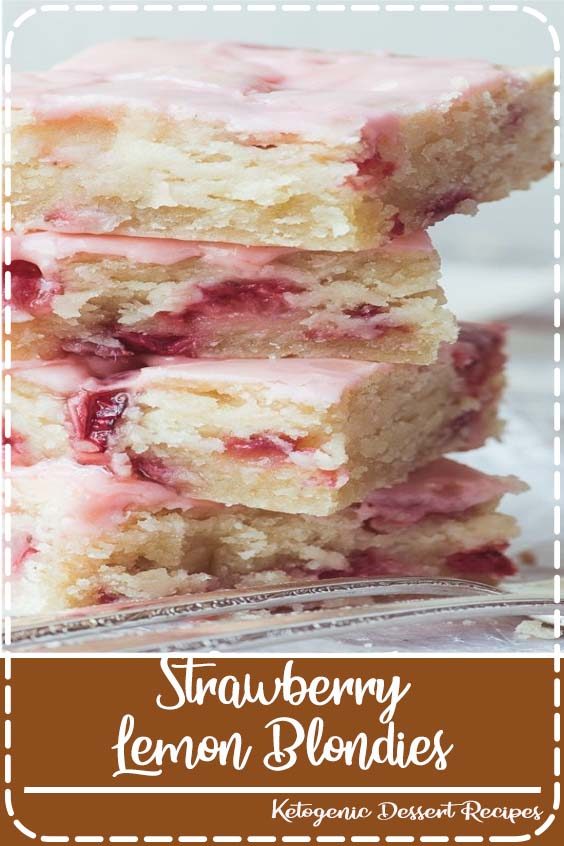 Strawberry Lemon Blondies ~ this easy strawberry dessert is moist and dense, (like soft shortbread) with lots of fresh strawberries and tangy lemon. #recipe#easy #strawberry #bars #cake #dessert,#blondies #lemonbars #easter#mothersday #strawberries #glazed
