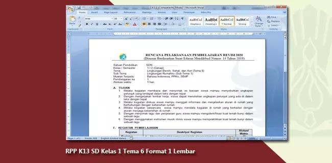 RPP K13 SD Kelas 1 Tema 6 Format 1 Lembar