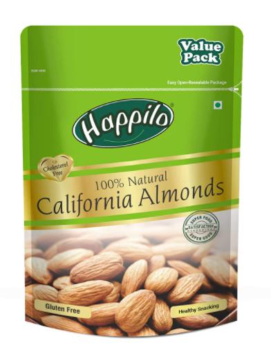 Happilo 100% Natural Premium Californian Almonds Value Pack Pouch, 500g