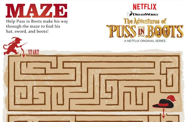 Puss in Boots Free Printable Maze.
