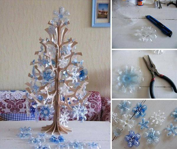 DIY Christmas trees of plastic bottle snowflakes