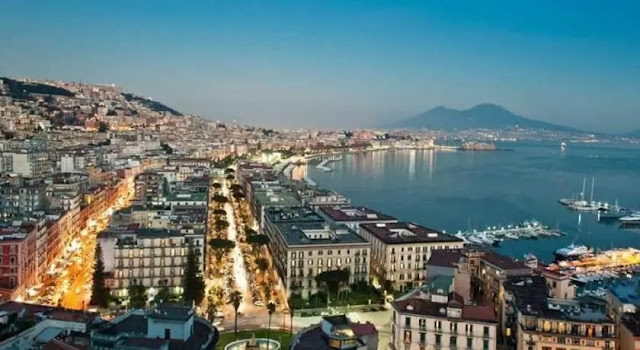 1- The city of Naples in southern Italy on the Gulf of Naples