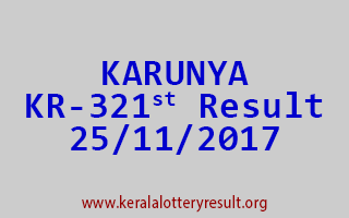 KARUNYA Lottery KR 321 Results 25-11-2017