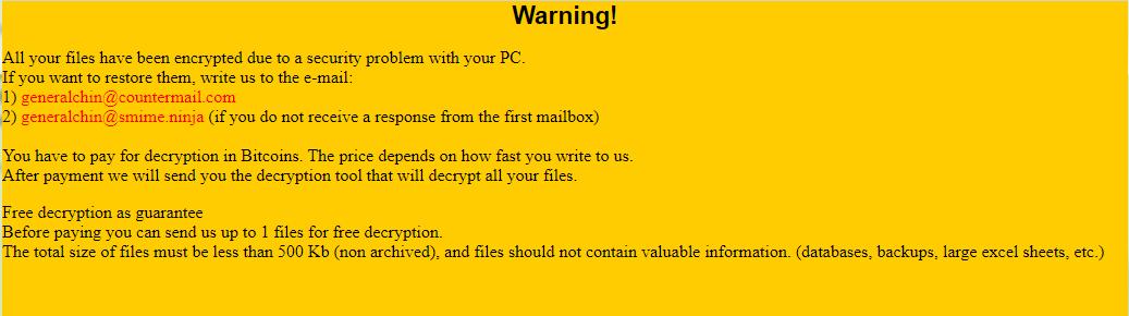 Rhino Ransomware Ransom Note