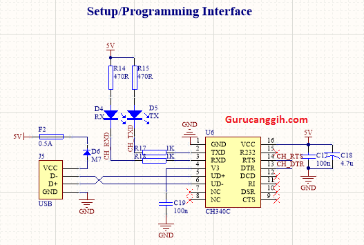Interface USB to Serial dengan CH340C / Interface Programming IC Atmega328P-AU