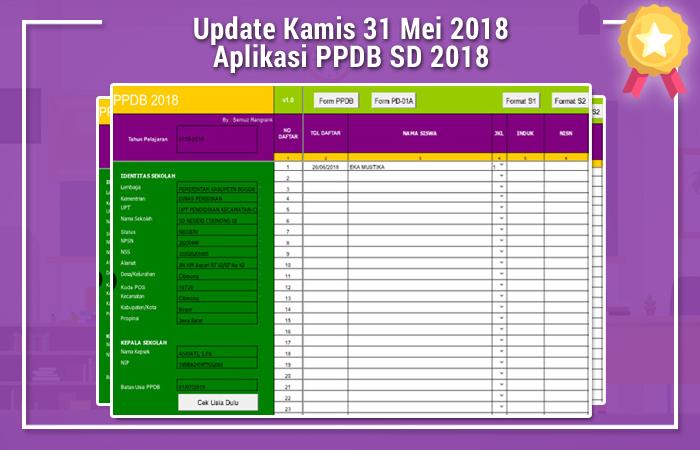 Update Kamis 31 Mei 2018 Aplikasi PPDB SD 2018