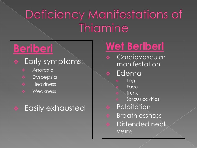 beriberi vitamin deficiency