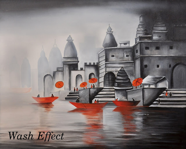 Banaras Ghat black and white painting with wash effect
