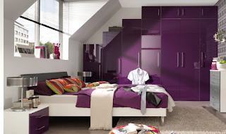 contoh desain kamar tidur minimalis warna ungu - dekorumahq