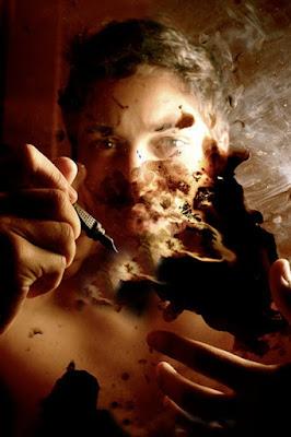 hombre, escritor, quemado, fuego