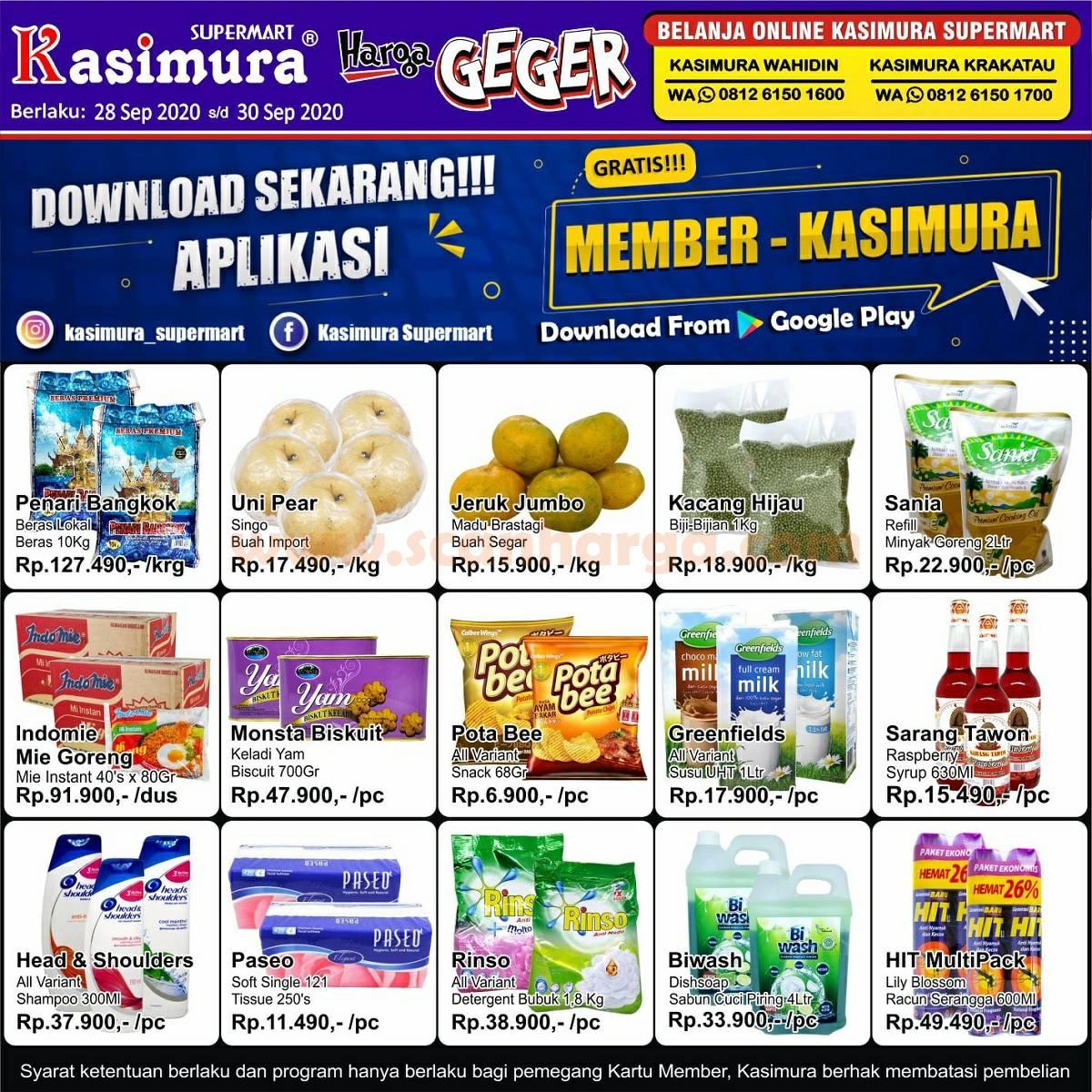 Katalog Kasimura Supermarket Weekday Promo Harga Geger Periode 28 - 30 September 2020