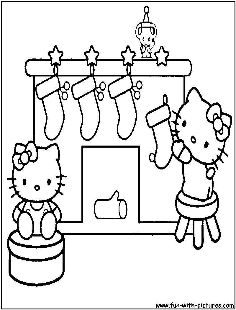 Hello kitty christmas coloring pages 1 hello kitty forever for Coloring page of christmas