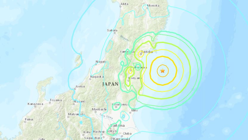 Magnitude 7.1 earthquake strikes off Fukushima, Japan