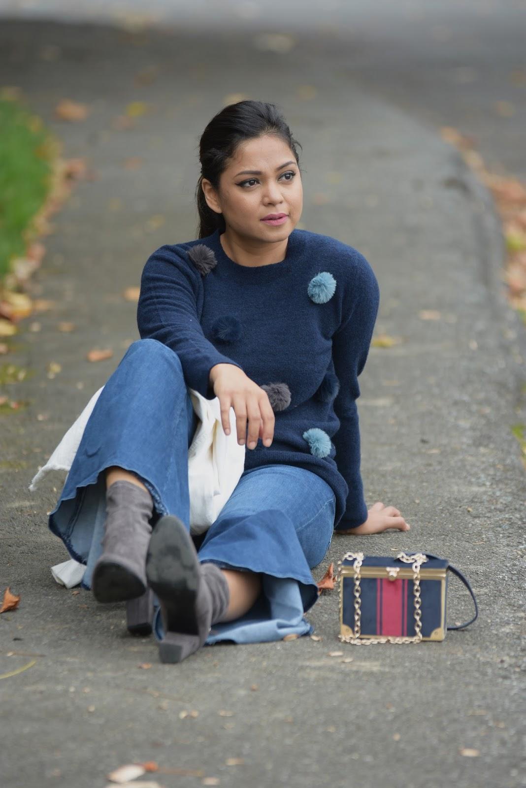 how to wear a pom pom sweater, five enduring fashion myths, ruffle hem jeans, sock booties, banana republic sweater, fashion, street style, myriad musings