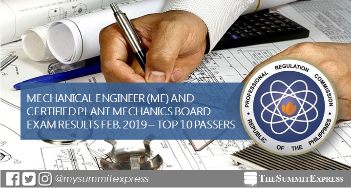 TOP 10 PASSERS: February 2019 Mechanical Engineer ME, CPM board exam result