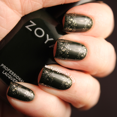 Zoya Envy and Ziv Stamped Nail Art