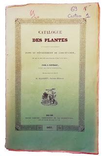 Catalogue des plantes Loir-et-Cher - Abbé Lefrou - Cour-Cheverny - 1837