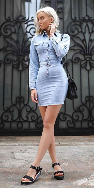 This is your cute summer outfits resource! Have a look at these 28 Summer Outfits that Are Big on Style Low on Effort via higiggle.com - denim mini dress - #summeroutfits #denim #summerstyle #minidress