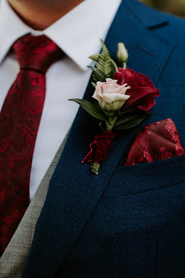 burgundy grooms boutonniere