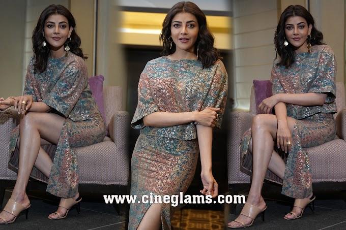 Actress Kajal Aggarwal Photos Gallery at Mosagallu Movie Interview