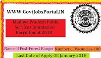 Madhya Pradesh Public Service Commission Recruitment 2018 – 100 Forest Ranger