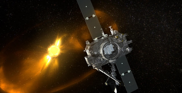 Artist's concept of the STEREO-B spacecraft. Image Credit: NASA