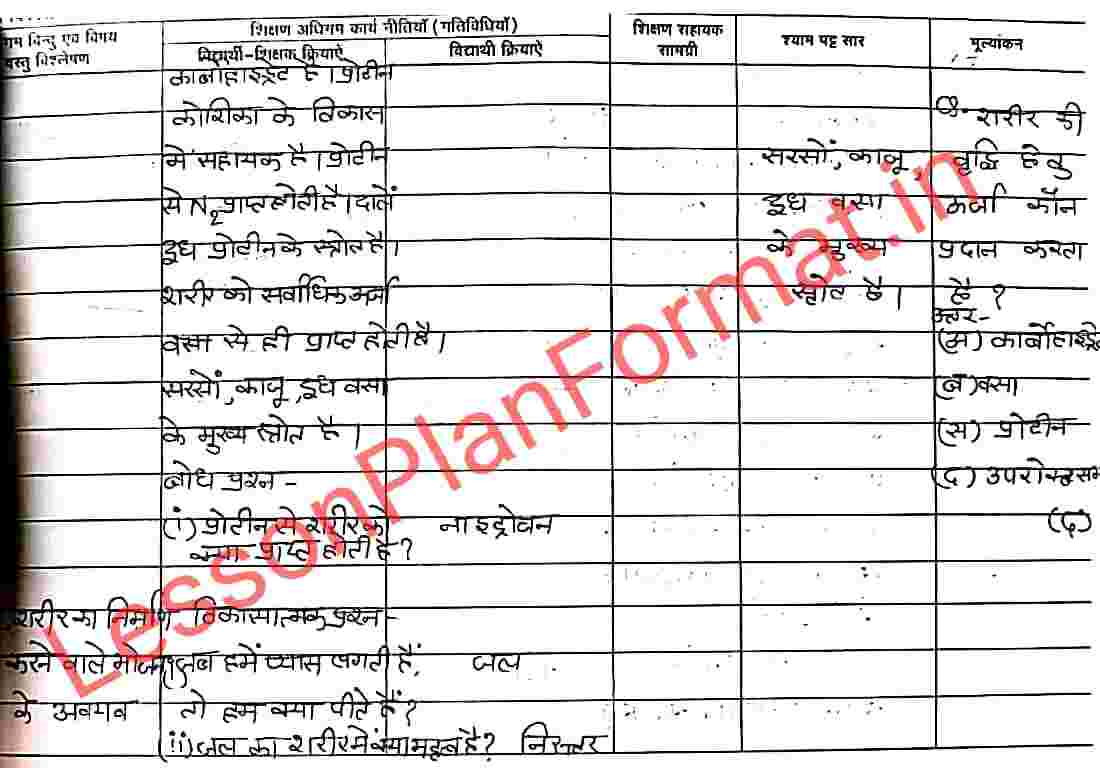 B.ed Lesson Plan for Science Class 7 in Hindi