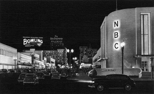 Vintage Postcard view Vine Street at Sunset Boulevard. The newly constructed NBC Radio City at night.  Jingles and other stories of The American Dream. marchmaton.com