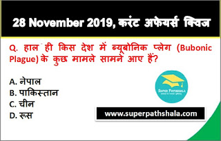 Daily Current Affairs Quiz in Hindi 28 November 2019