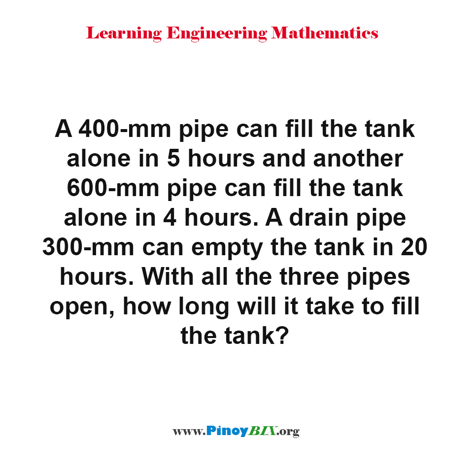 With all the three pipes open, how long will it take to fill the tank?