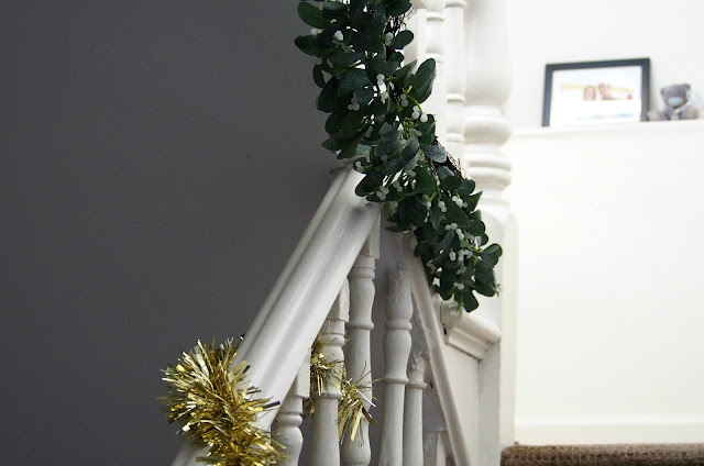 Festive decorations on stairs