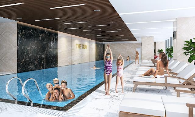 Bể bơi 4 mùa là tiện ích cao cấp tại Chung cư The Sun