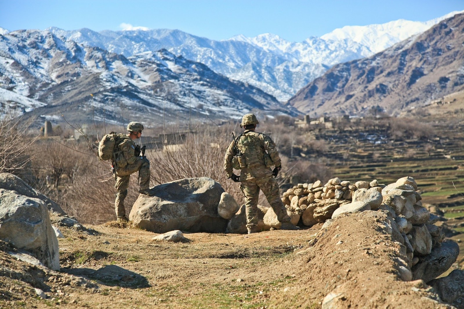 two army soldiers facing away from the camera looking into giant rock valley to illustrate blog post about youtube channel funker350