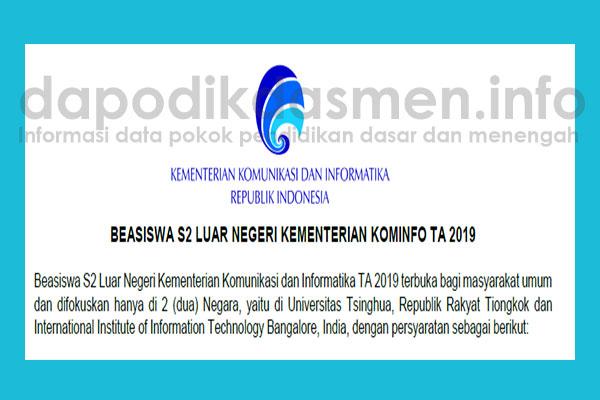 Beasiswa S2 Kementerian KOMINFO di Luar Negeri Tahun 2019